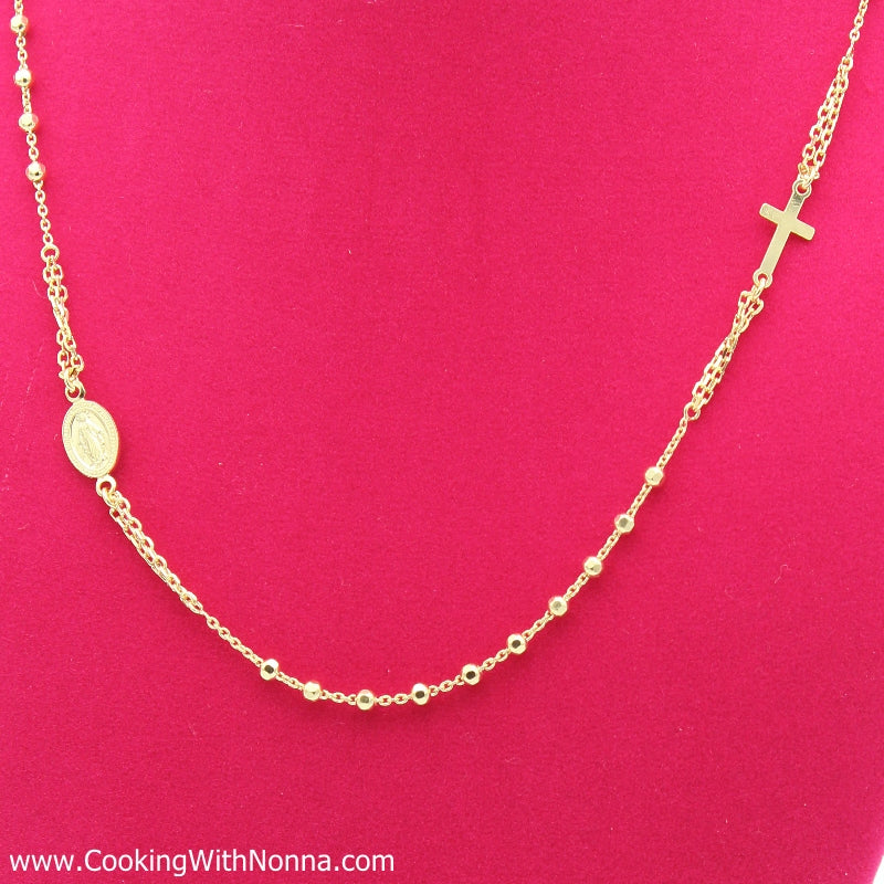 Ave Maria Silver Rosary Necklace - Yellow Gold Plated