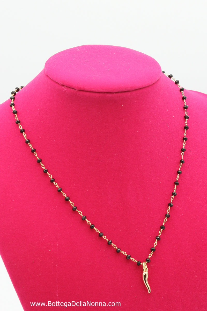 The Silver Beaded Cornicello Necklace - Black Beads