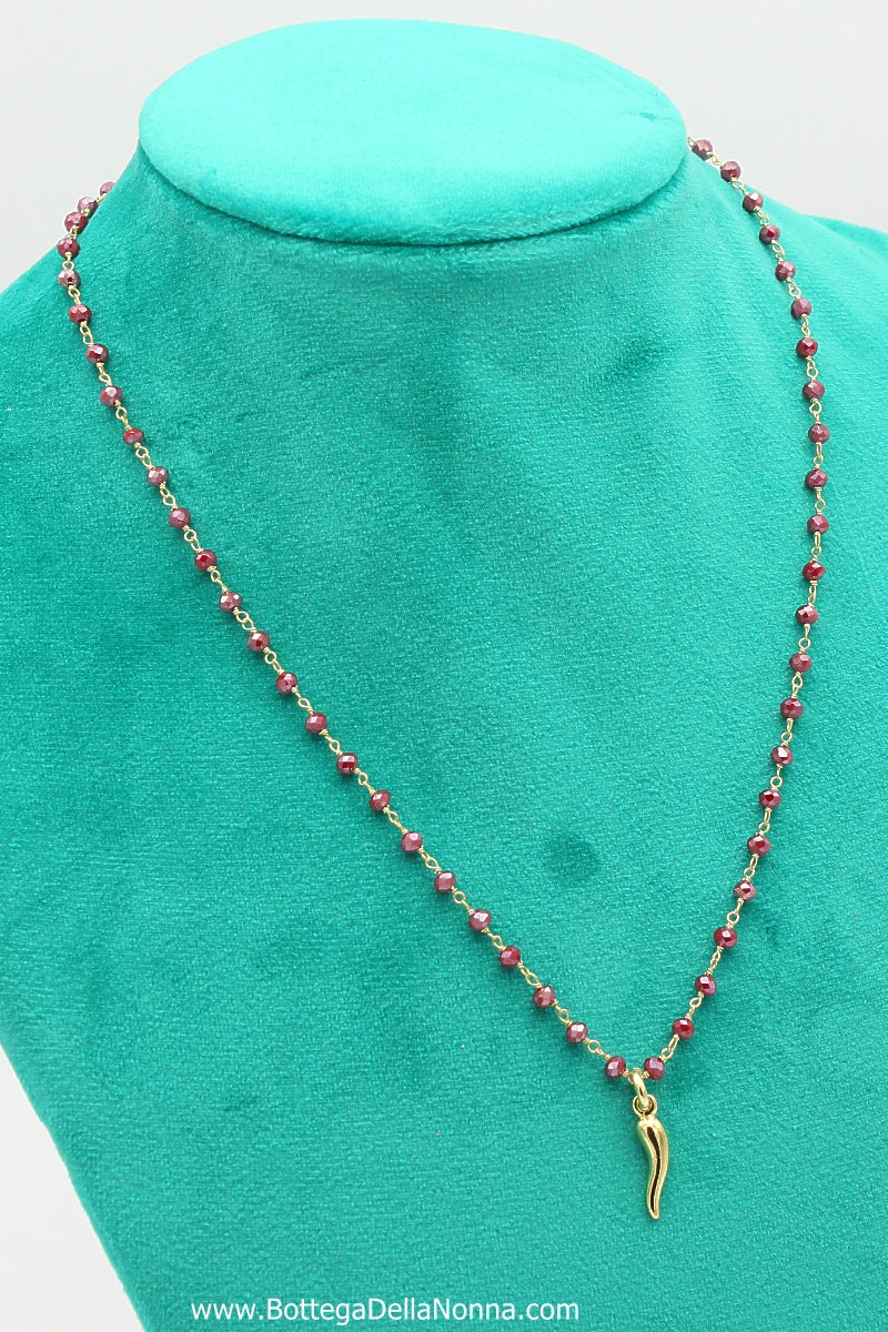 The Silver Beaded Cornicello Necklace - Red Beads