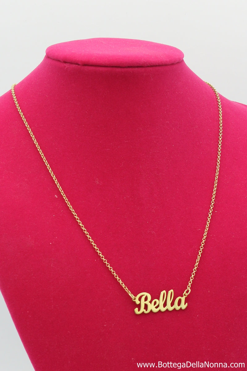 The Bella Silver Nameplate Necklace - Yellow Gold Plated - Free Shipping