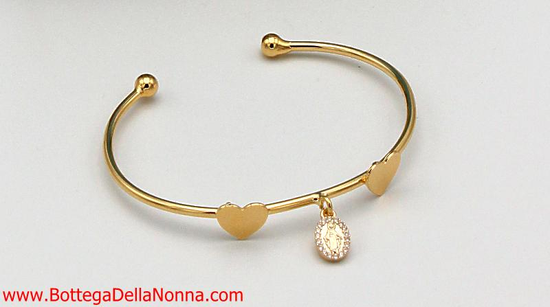 The Blessed Mother Heart Bangle - Yellow Gold