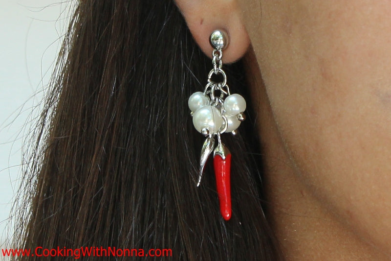 The Capri Cornicello Earrings with Pearls - White Gold - Final Sale