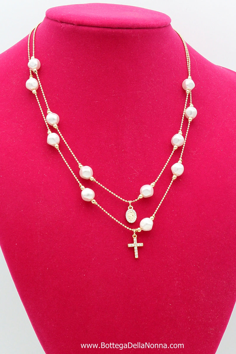 The Faith & Pearls Necklace - Yellow Gold Plated