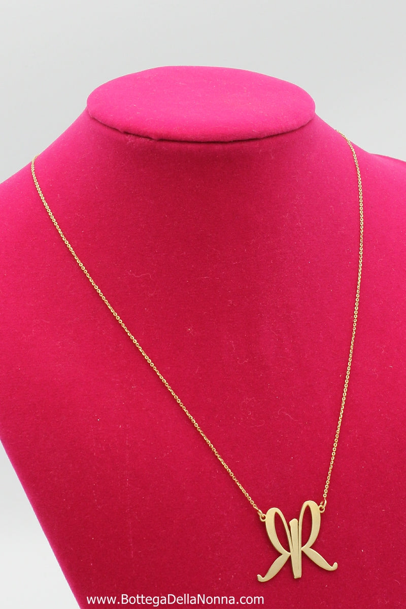 La Farfalla Silver Necklace - Yellow Gold Plated - Free Shipping