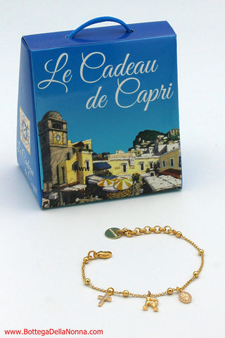 The Capri Multi-Strand Cornicello Bracelet - Yellow Gold