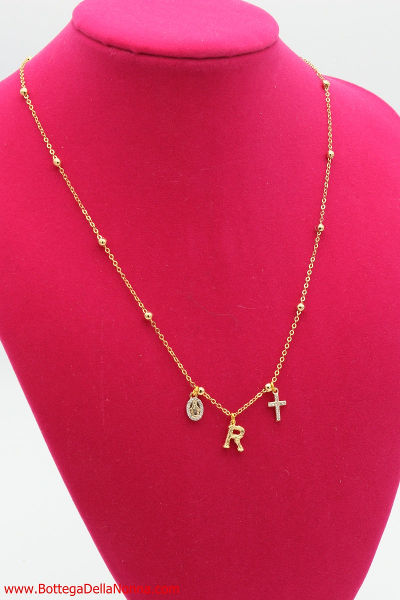 The Holy Initial Necklace - White Gold Plated