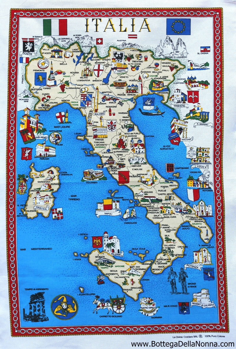 Italian Map - Dish Towel - Made in Italy