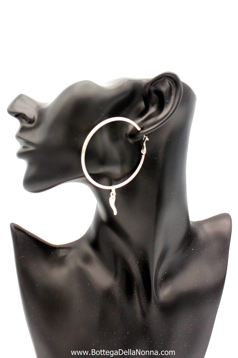 The Cornicello Oro Earrings - Large - White Gold