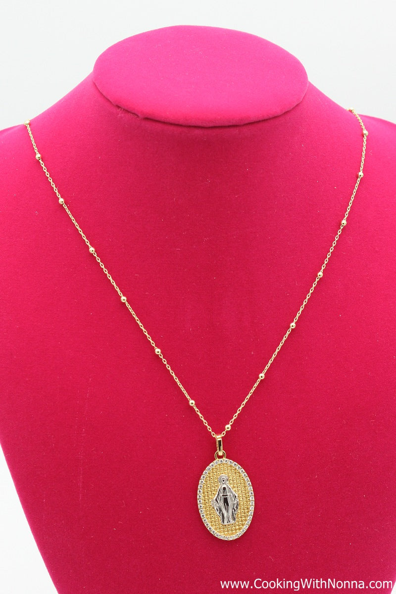The Mamma Maria Silver Necklace - Yellow Gold Plated - Free Shipping