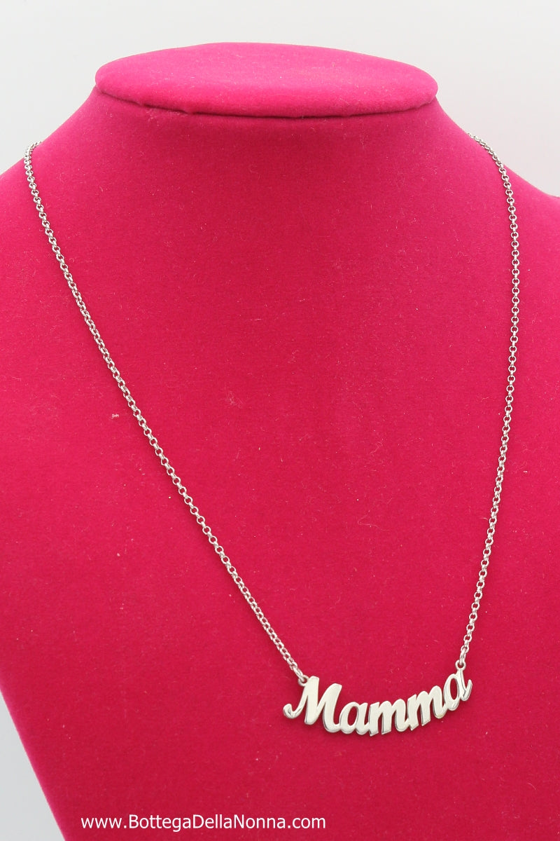 The Mamma Silver Nameplate Necklace - White Gold Plated - Free Shipping