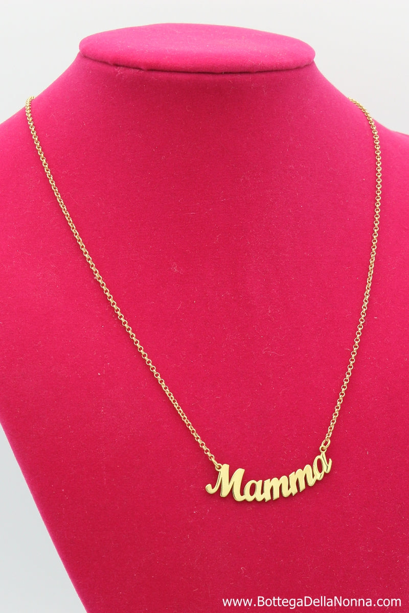 The Mamma Silver Nameplate Necklace - Yellow Gold Plated - Free Shipping