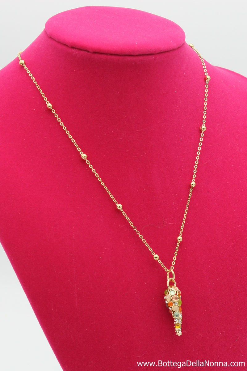 The Rainbow Cornicello Necklace - Yellow Gold