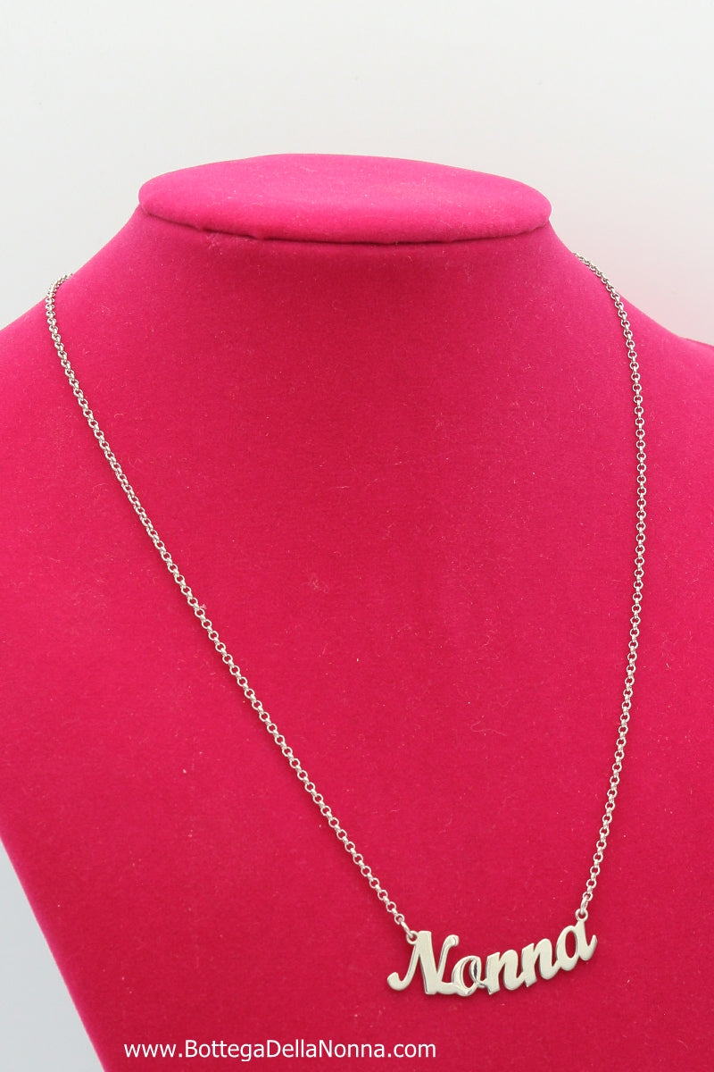 The Nonna Silver Nameplate  Necklace - White Gold Plated - Free Shipping