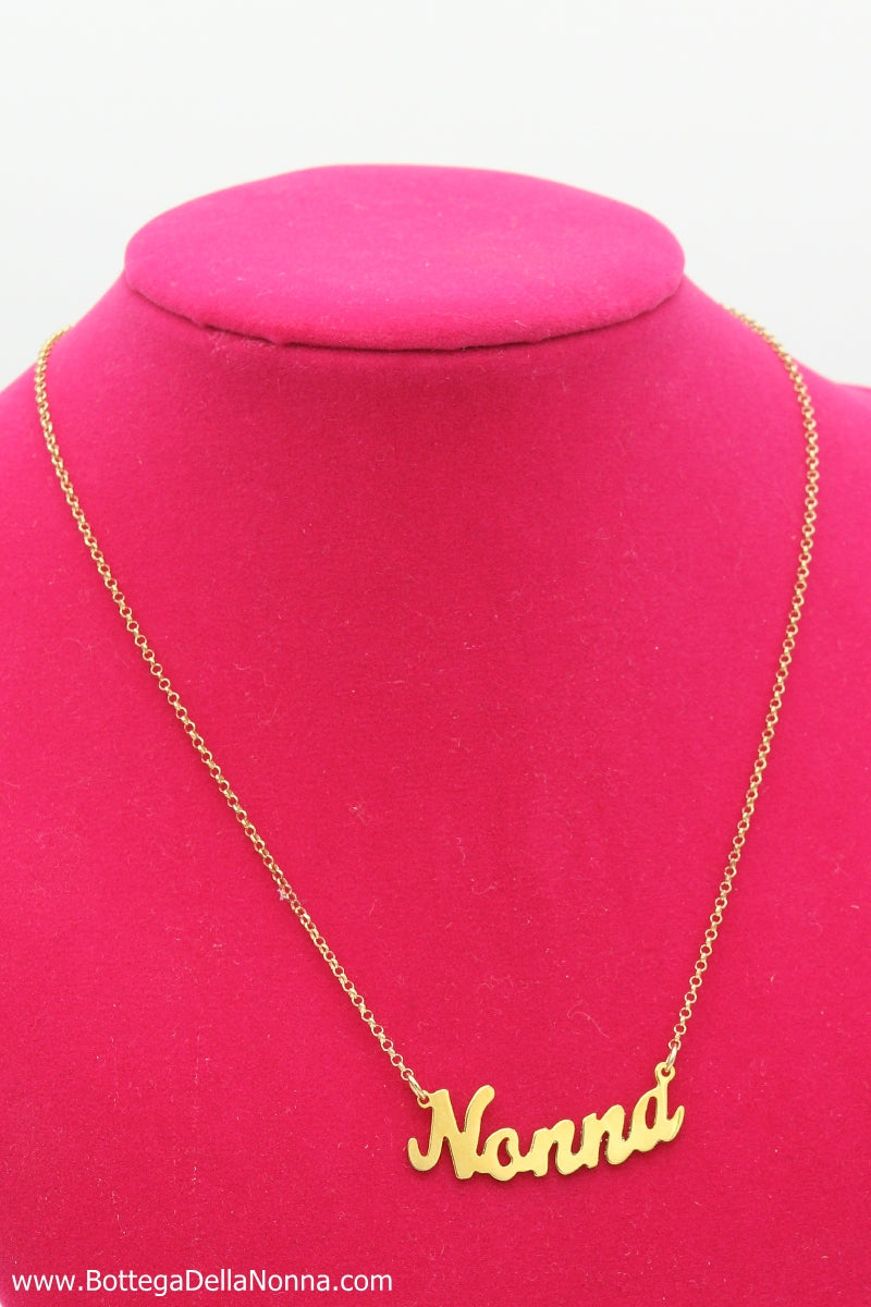 The Nonna Silver Nameplate  Necklace - Yellow Gold Plated - Free Shipping
