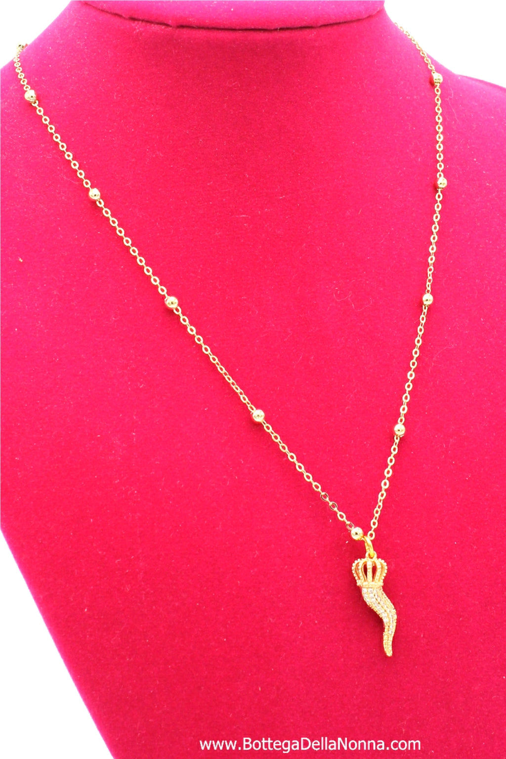 The Pave` Cornicello Necklace - Yellow Gold