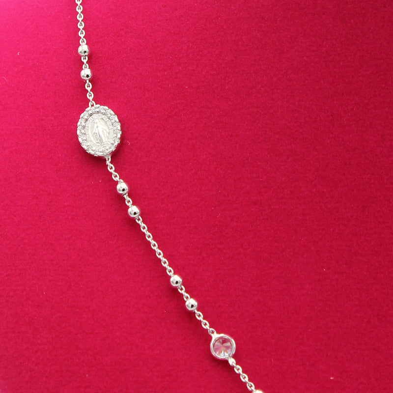 Mother Mary Silver Rosary Necklace - White Gold Plated
