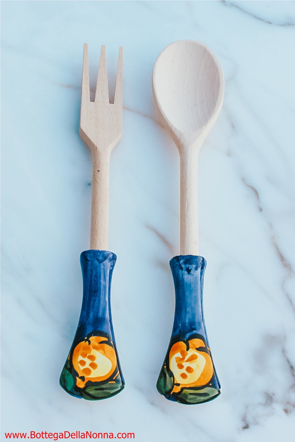 The Positano Wood Salad Spoon and Fork Set