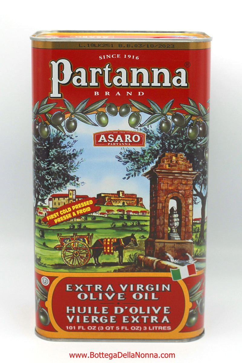 Sicilian Extra Virgin Olive Oil by Partanna - 100% Italian Olives - 3 Liters