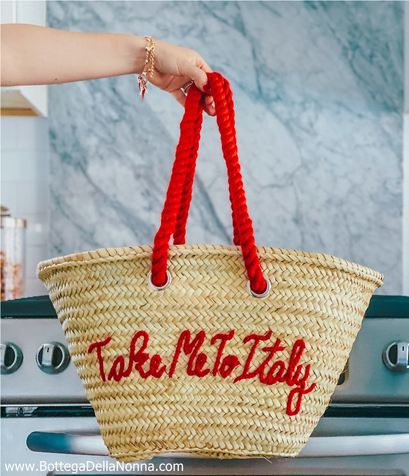 The Take Me to Italy Straw Beach Bag