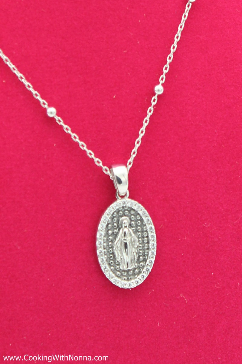 The Virgin Mary Silver Necklace - White Gold Plated - Free Shipping