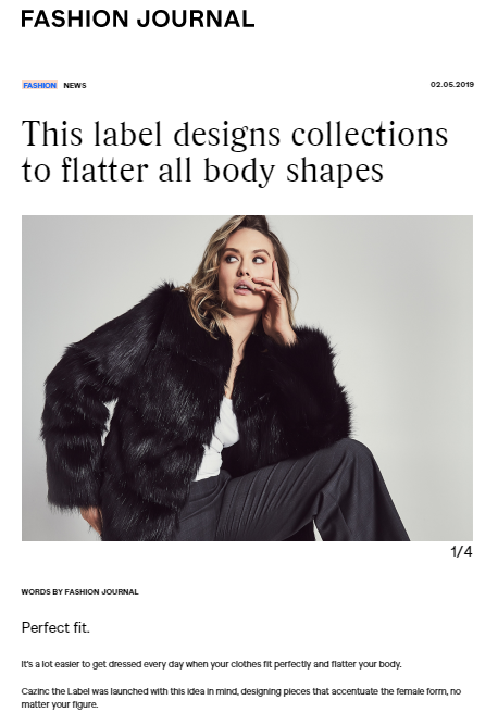 Fashion Journal's article on Cazinc The Label
