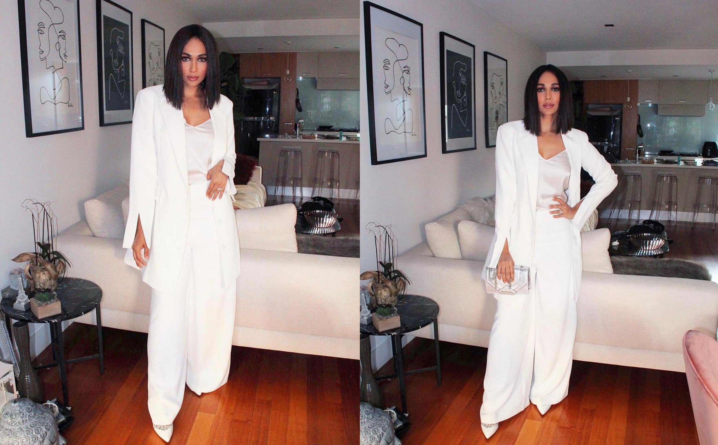 Sharon Johal in Cazinc The Label's white Abigail Blazer Dress.