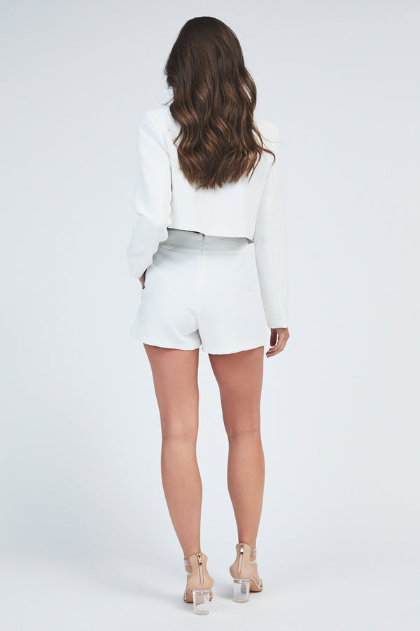 Isa Crop Jacket - White