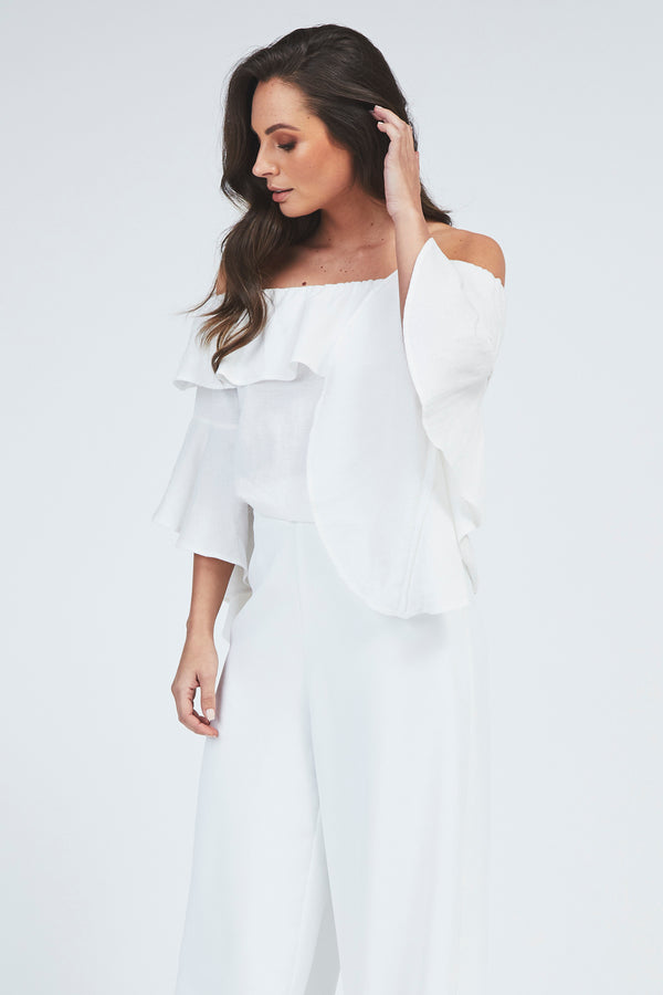 Lilly Cold Shoulder Top - White