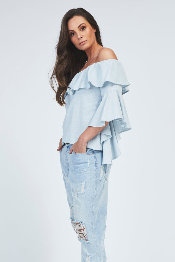 Lilly Cold Shoulder Top - Blue
