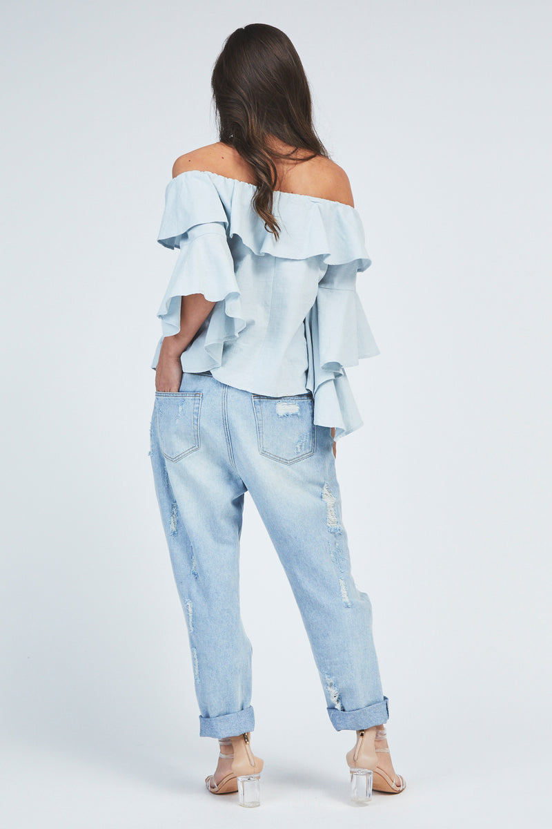Lillie Cold-Shoulder Top - Blue