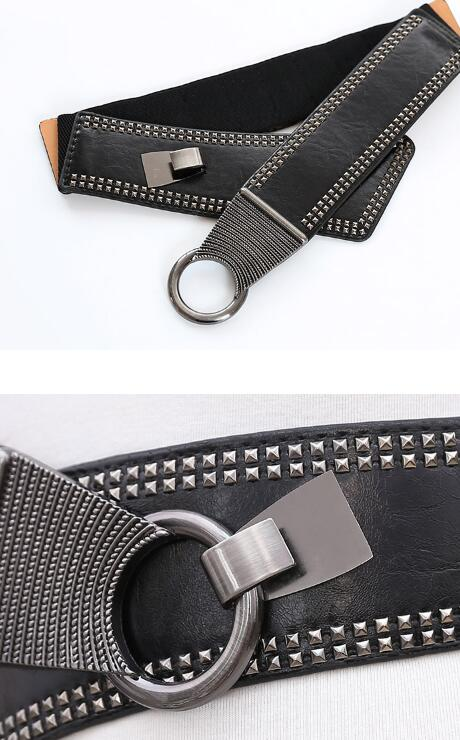 Chelsey Wide Elastic Belt With Metal Studs - Black