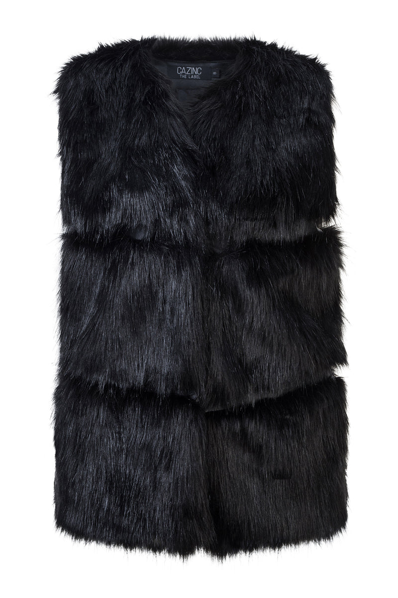 Faux Fur Panelled Vest - Black
