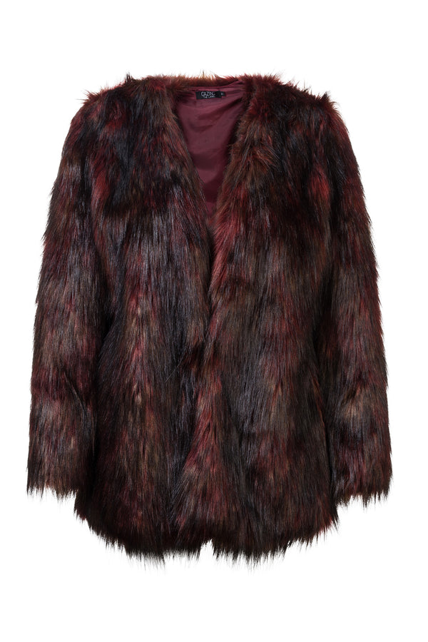 Faux Fur Coat - Red