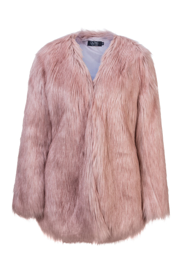 Faux Fur Coat - Pink