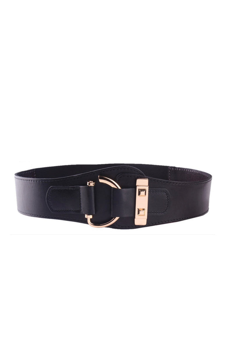 Pascalle Leather Women Elastic Belt - Black