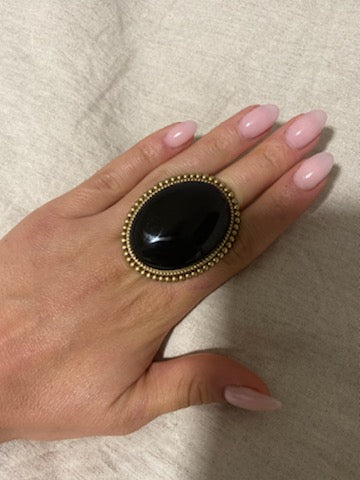 Large Statement Rings - Black Silver