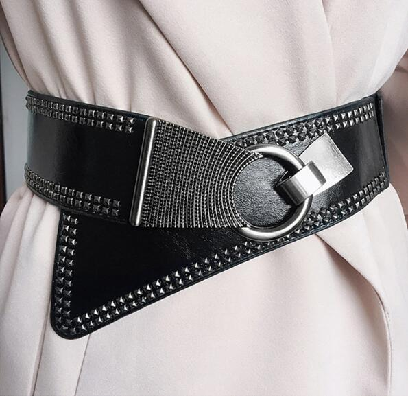 Chelsey Wide Elastic Belt - Metal Studs