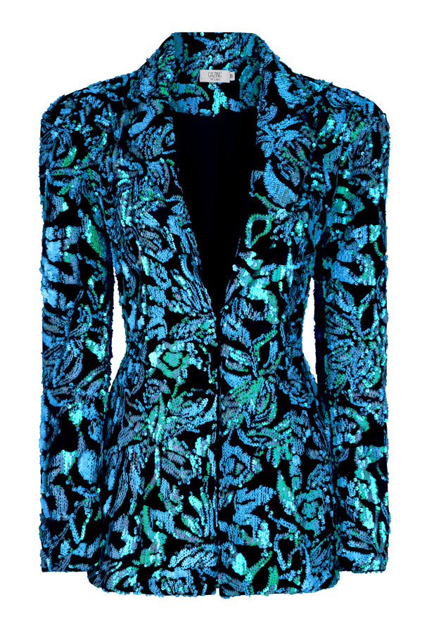Sophia Blazer - Blue Sequin Black Velvet