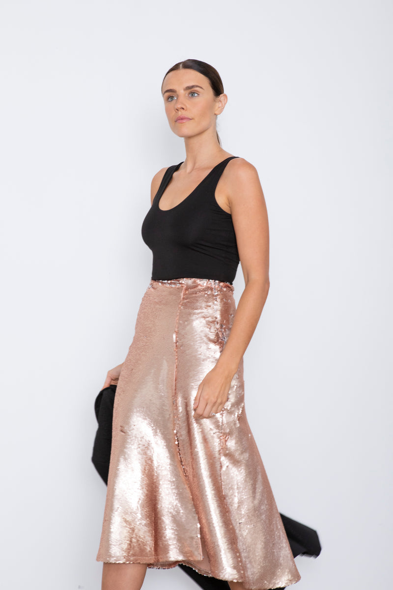 Harper Skirt - Matte Gold