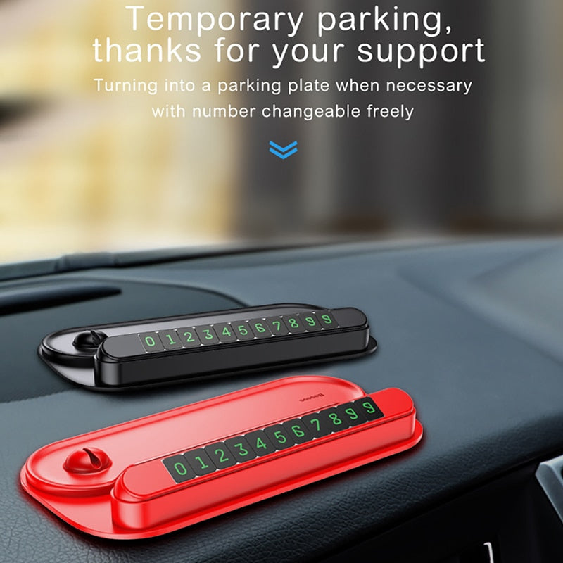 Baseus Phone Number Plate Car Styling Accessories 2 in 1 Car Parking Card with Mobile Phone Holder Car Temporary Parking