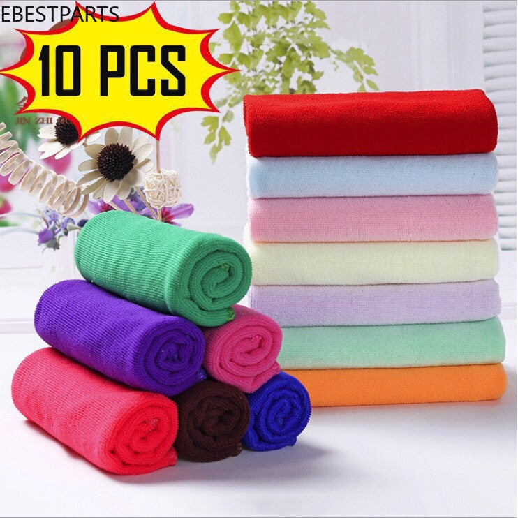 Ebestparts 10 Pcs Microfiber Car Cleaning Towel Kitchen Hand Face Washing Polish Set ClothHot