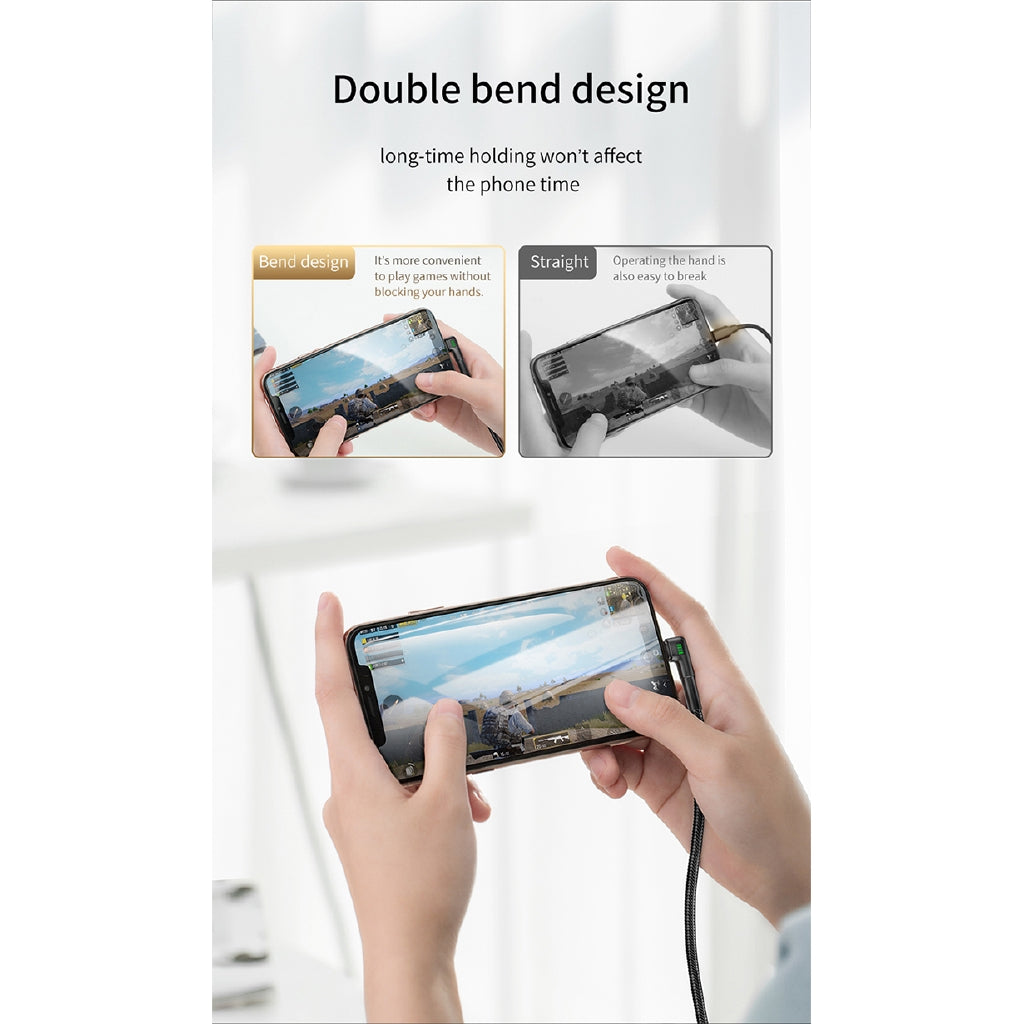 Baseus Double Bend Design USB Cable for iPhone xs max xr 2M 1.5A Charging Cable for iPhone X 8 7 6 6s Plus Charger