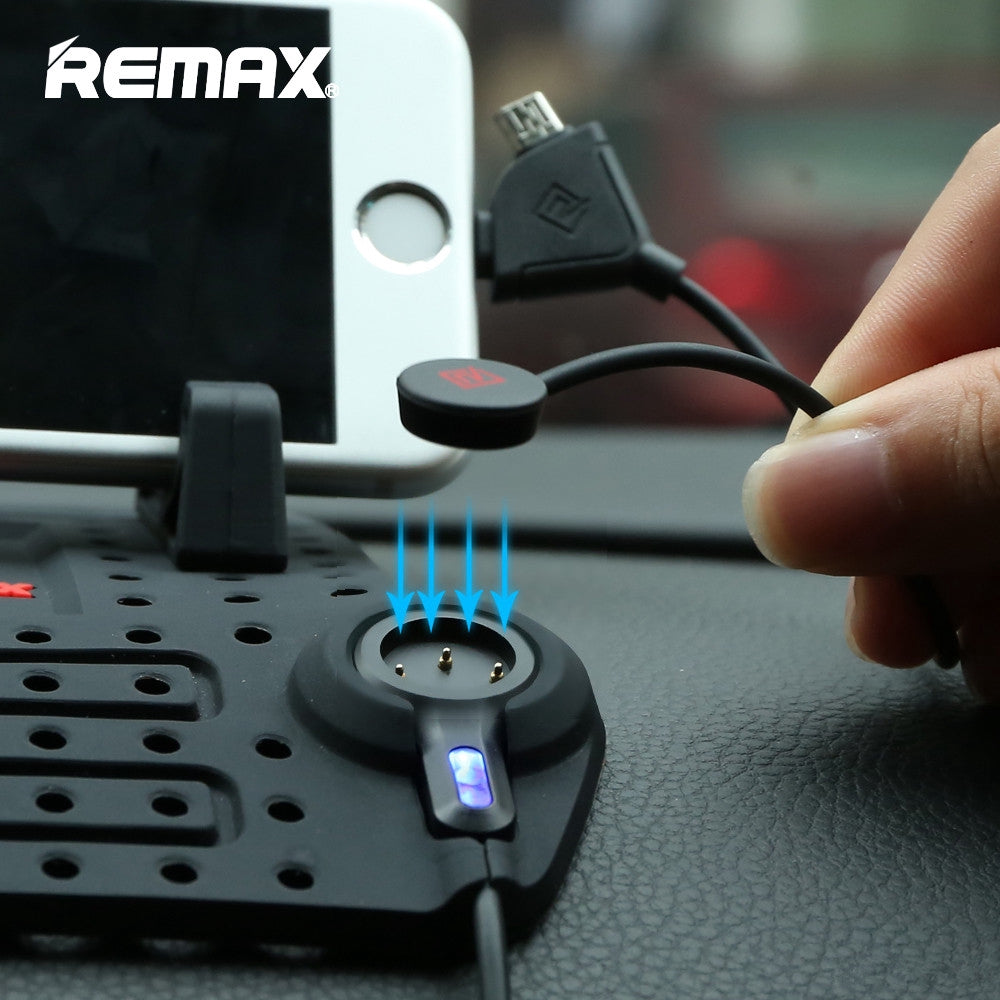 Remax Car Adjustable Bracket phone Holder Mounts With 2 in 1 Magnetic USB Cable Charging For iPhone xiaomi Samsung GPS