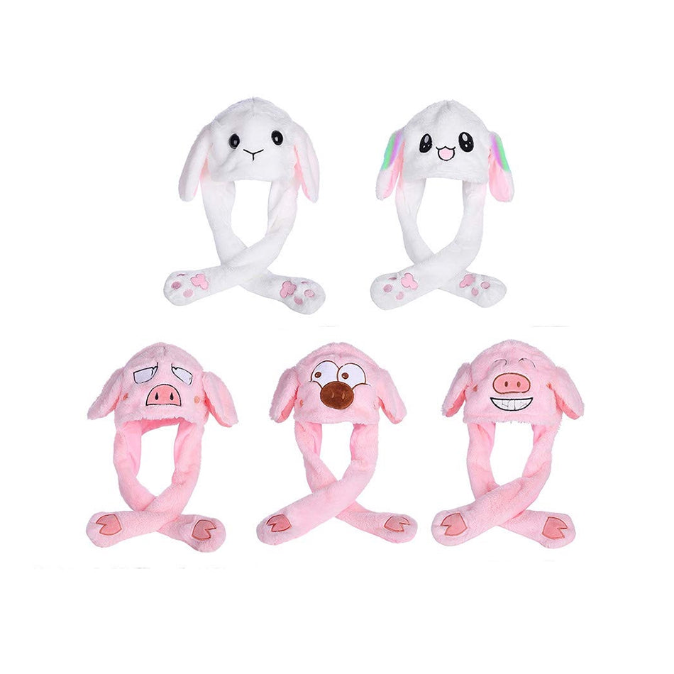 Girls Animals Ear Moving Jumping Hats Children Women Rabbit Winter Caps Kids Cute Bunny Fuzzy Pinch Airbag Funny Hats