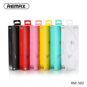 Remax RM-502 Stereo Music headphones with HD Mic in-ear 3.5mm wired Earphone For iphone Samsung Noise reduce headphone