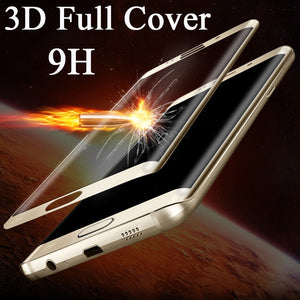 9H Full Cover 3D Curved Tempered Glass For Samsung Galaxy S6 Edge S6 Edge Plus S7 S8 S9 Plus Note 8 Screen Protector Color Film