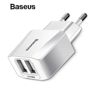 Baseus Dual USB Charger, Mobile Phone EU Charger Plug Travel Wall Charger Adapter For iPhone iPad Samsung Xiaomi Phone Charger