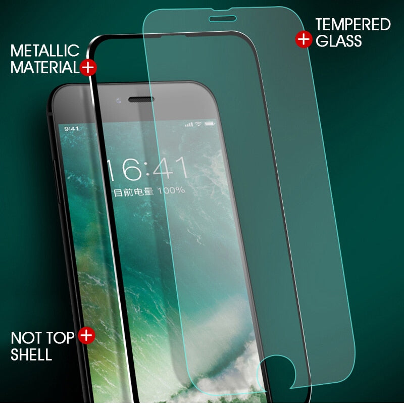 9D Aluminum Alloy Tempered Glass For iPhone 6 6S 7 8 Plus Screen Protector Full Cover For iPhone X 8 5 SE 5s Glass Film