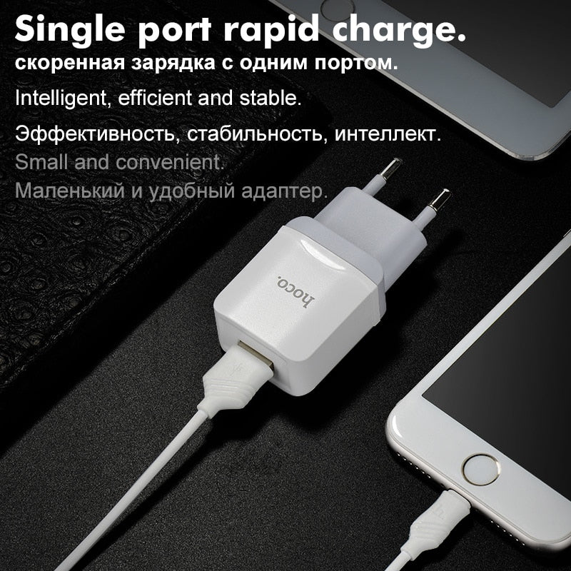 HOCO Universal USB Charger Adapter With Charging Cable Wall Travel Charger EU Plugs Portable for iPhone X Samsung Xiaomi