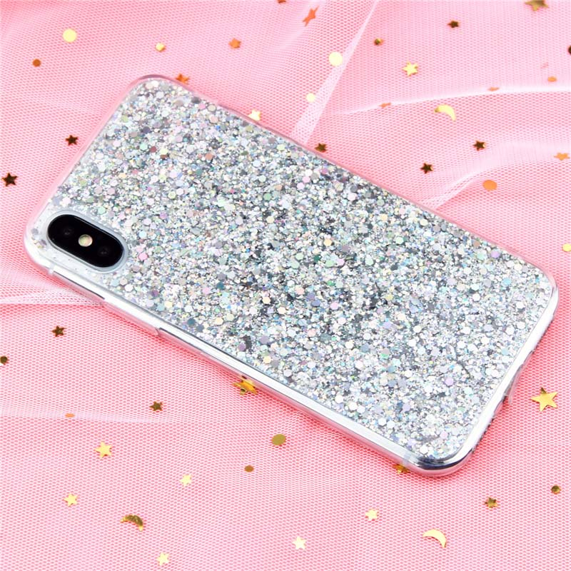 Case for iPhone 6 6S Case Silicon Bling Glitter Crystal Sequins Soft Cover Fundas for iPhone 5SE 5S 7 8 Plus X XR XS Max